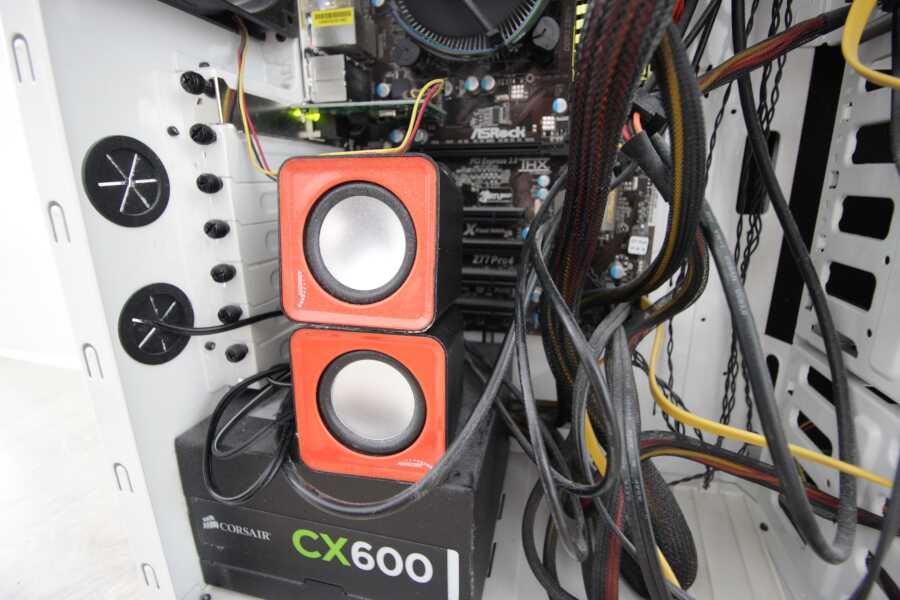 speakers inside case